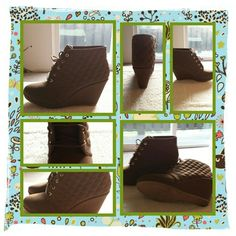 NWOB Brown Lace Up Boots Size 10 FIRM New Never Worn Brown Woman's Lace Up Boots Size 10 Medium. Very Comfortable & Stylish With Quilted Pattern Around Ankle And Wedge Heel. Excellent Condition. I Tried Wearing Around The House Other Then That They Haven't Been Worn POSTED ON MER_CARI CODE: CQUAAW  Forever Shoes Lace Up Boots