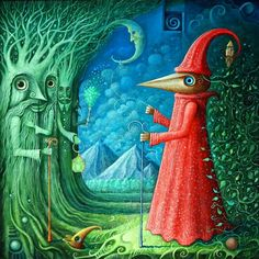 Woodman in Land of Ents by Frodo K on DeviantArt (acrylic, 45 x 45cm)