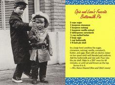 Opie and Leon's Favorite Buttermilk Pie Recipe Postcard