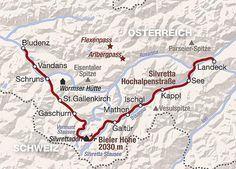 Billedresultat for Silvretta Hochalpenstraße Map, Travel, Mountains, Alps, Viajes, Destinations, Location Map, Maps, Traveling