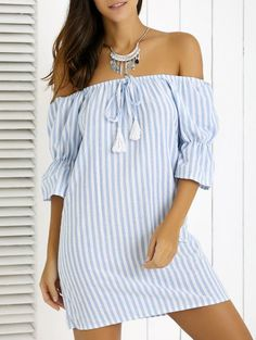 SHARE & Get it FREE | Striped Fringe Off The Shoulder Mini DressFor Fashion Lovers only:80,000+ Items • New Arrivals Daily Join Zaful: Get YOUR $50 NOW!
