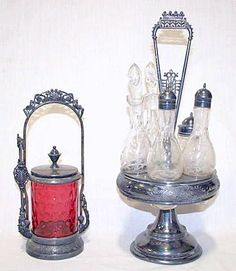 Vintage Cruet Set And Ruby Glass Pickle Castor