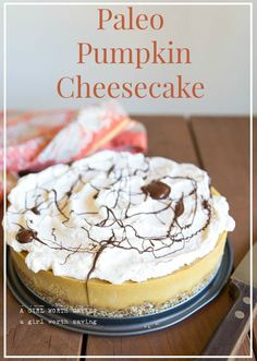 You will love this rich, creamy paleo pumpkin cheesecake topped with velvety whipped cream and chocolate.
