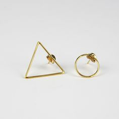 Triangle Gold Earrings - Trouva