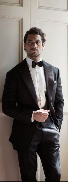 David Gandy in Dolce Gabbana tux. But want my husband to wear white bow tie (his identical twin wears black tie). I obviously can tell who is my husband but confusing for guests & photographer when identical twins. One must wear white bow tie, like at wedding -Mari