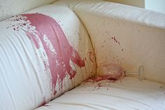 Super easy way that got red wine off my white couch! White Couches, White Pillows, White Bedding, Diy Furniture Repair, Scratched Wood, Red Wine Stains, Stain Remover Carpet, Carpet Stains, White Furniture