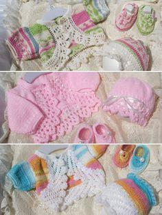 """Darling sets to dress up your little one in style! The pattern includes 3 separate edgings to make each one unique and versatile. Includes written instructions only. Size: Includes Preemie through 3 months. Will also fit 16""""-22"""" dolls. Made with fine (sport) or light (DK) weight yarn and size 2/2.75mm and 3/3.25mm needles or size 3/3.25mm and 6/4mm needles. Skill Level: Intermediate"""