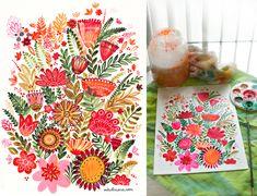 Tea towel flowers