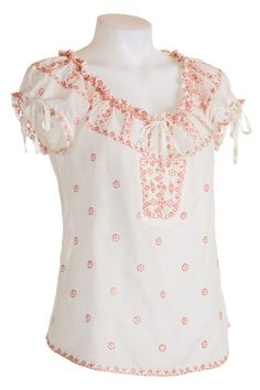 Embroidered Silk Peasant Top By Interlud: Artfulwears
