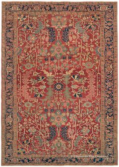 SERAPI, Northwest Persian, 8ft 4in x 12ft 0in, Late 19th Century. This singular room size carpet with its extensive use of aged sunset reds presents strongly proportioned, stylized flower and leaf patterns that create a unique casual elegance. Its large-scale allover design of large curling leaves and expansive blossoms is seldom encountered, offering a robust alternative to the angular center medallion format traditional to this style of carpet.