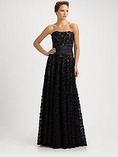 Notte by Marchesa Strapless Silk Gown