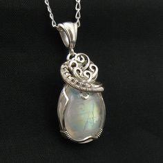 Rainbow Moonstone Necklace - Moonstone Pendant - Rainbow Moonstone Jewelry - Sterling Silver via Etsy
