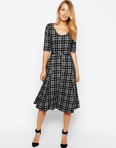 This plaid skater dress would be so pretty with burgundy accents