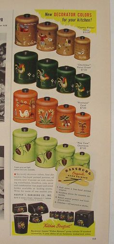 1954 RANSBURG Handpainted Kitchen Cannisters Ad 4 Patterns Mid-Century Mod