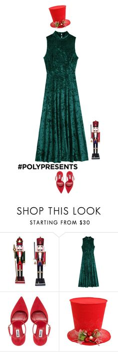 """#PolyPresents: Party Dresses"" by mimas-style ❤ liked on Polyvore featuring Santa's Workshop, Raz, contestentry and polyPresents"