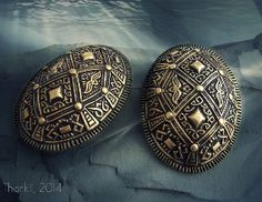 Viking tortoise (oval) brooches, bronze - replica, type P37