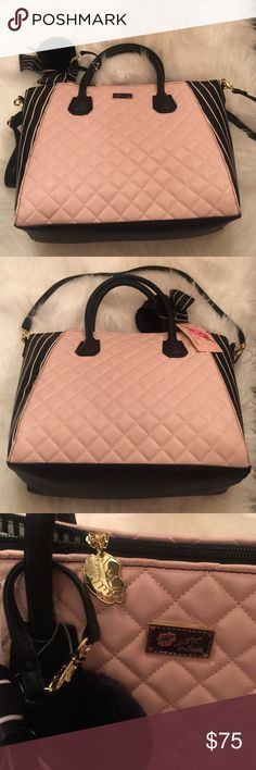 "Luv Betsey Pink Quilted Handbag  NWT it comes with removable strap and adorable bow and furry ball accessories. It measures 15"" wide and 11"" tall   Would make your Betsey lover a wonderful Christmas gift Betsey Johnson Bags Satchels"