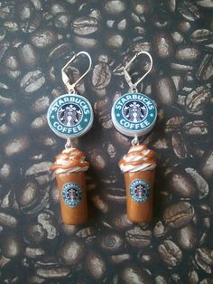 Starbucks Coffee Frappuccino Logo Earrings.