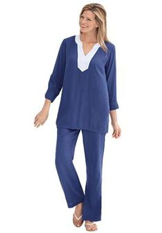 Tunic top and pant set in gauze   Plus Size Suits & Sets   OneStopPlus