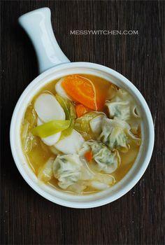 Recipe: Korean rice cakes soup with leeks + mandu