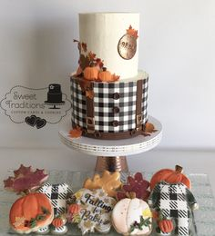 Fall themed baby boy cake and cookie baby shower set Baby Boy Cakes, Cakes For Boys, Shower Set, Baby Shower, Autumn Theme, Sweet Treats, Traditional, Cookies, Fall