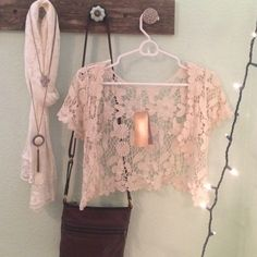 Lace Cover Up Brand new! Perfect condition, from a little boutique, great for going over dresses and tank tops that have straps! Francesca's Collections Tops