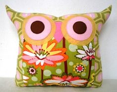 NEW/ Polyfil Stuffed Pond Lily 2 Owl Pillow  ready by fongstudio