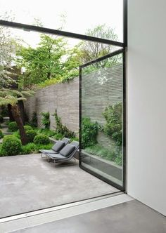 bringing the outside inside with large glass doors, great way to maximize natural light
