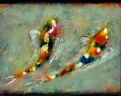 """Don't judge a fish until you've done a lap in his bowl! This """"In Your Waters"""" by Paul Cunningham.   #art #fineart #painting #arttovisit #gallery #painter #artist #artalive #artnews #lifeofanartist #followart #supportart #artbeat #modernart #contemporaryart #santafe #newmexico #new_mexico #santafenm #canyonroad #okeeffecountry #newmexicotrue #southwest #fish #fishies #water #ocean #koi #red #spots #polkadots #acrylic #animals #animalart #fins #buddies #friends #bestfriends #bff #duo #two #2"""