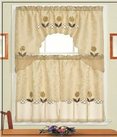 """Daniel's Bath & Beyond Lily Brown Kitchen Curtain Set by HLC.ME. $7.99. Daniel's Bath & Beyond Lily Brown Kitchen Curtain Set - Our Kitchen Curtains are expertly tailored and add an elegant touch to any Kitchen. (Curtain Rods Not Included) Fabric Made of 100% Polyester Wash Warm separately, Gentle Cyle No Chlorine Bleach Line or Tumble Dry Medium Iron. What's Included: 1x Daniel's Bath & Beyond Lily Brown Kitchen Curtain Swag Valance 36"""" x 60"""" Inches (top curta..."""