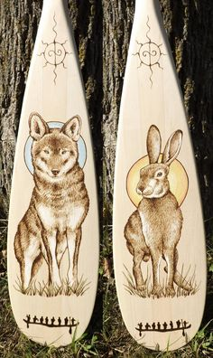Wolf and Hare Canoe Paddle Pyrography by Cara Jordan  This is the design for the Paddle Pyrography Course I'll be teaching next year at the Canadian Canoe Museum. If you're in Peterborough or the surrounding area, consider signing up!