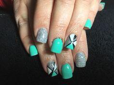 Rainbow silver acrylic nails with precision gel polish