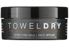 TOWELDRY Paste Styler, 2.5 oz.-Extra-Firm Hold   Low Shine. Gets thick, course or curly hair under control with just a few touches.  For guys wanting extra-firm hold and quick set up.