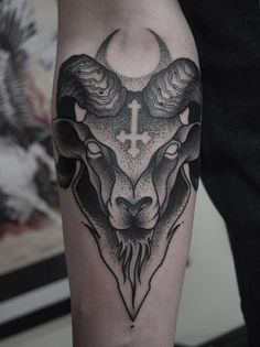 Black and grey dotwork ram tattoo by Mark