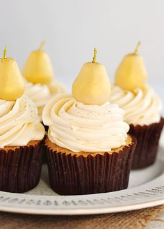 Lovely Marzipan & Pear Cupcakes with Caramel Buttercream. #cupcake #recipes