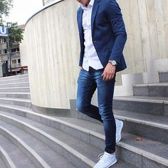 Blue jacket, white shirt , denim and  adidas #sneakers by @trimodavis ❣✨ [ www.RoyalFashionist.com ]