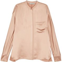 Vince Peach Satin Shirt - Size XS (22,820 PHP) ❤ liked on Polyvore featuring tops, pink shirt, mandarin-collar shirts, vince shirts, satin top and sleeve shirt