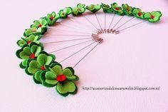 DulcesCaramelos: Alfileres, tréboles de cuatro hojas de fieltro