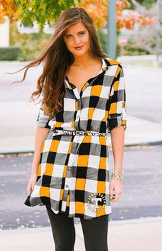 """Arizona State """"Just Checkin"""" Plaid and Leopard Belted Dress Plaid Tunic, Plaid Dress, Belted Dress, Plaid And Leopard, Leopard Belt, Tailgate Outfit, Football Outfits, Football Fashion, Couture"""