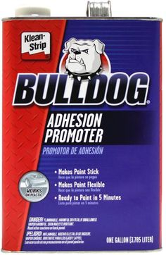 Bulldog® Adhesion Promoter is designed to promote paint adhesion to all automotive surfaces, even problem plastics. It works equally well on all flexible or rigid plastics, fiberglass, aluminum, glass, chrome, vinyl, galvanized metal, and painted surfaces. Bulldog acts as a tie coat by allowing several different surfaces to be painted at the same time to assure a smooth, flawless, durable finish every time. If added to the paint, it will perform as a flex agent, promoting more flexibility