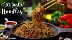Chili Garlic Noodles Ingredients Hakka Noodles - 300 Gms Sesame Oil - 2 Tbsp Garlic Onion - 1 No. Thinly Sliced Green Chili - 1 No. Carrot - 1 Cabbage - 1 Bowl Yellow Bell Pepper - No. Red Bell Pepper - N Maggi Recipes, Wok Recipes, Noodle Recipes, Indian Food Recipes, Vegetarian Recipes, Cooking Recipes, Snack Recipes, Indian Snacks, What's Cooking