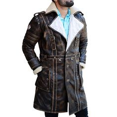 67d3a56e5dd Get Elder Maxson Fallout 4 Fur Collar Brown Coat. This Coat is worn by the