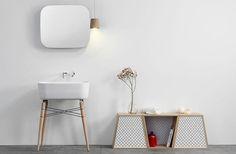 Ray bathroom ceramic washbasin by Michael Hilgers // cabinet-white-minimalist-nordic-wood