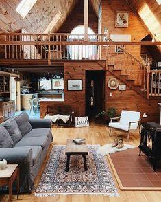 Tiny house interior design - 52 cozy tiny houses that you must check 9 – Tiny house interior design Tiny House Cabin, Tiny House Design, Cabin Homes, Log Homes, Tiny Houses, Wood House Design, Stair Design, Rural House, Cool Houses