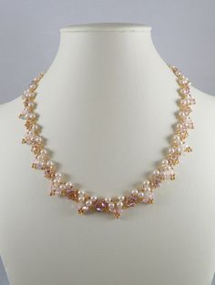 Swarovski Necklace Woven Pearl and Swarovski ABx2 by IndulgedGirl, $32.00