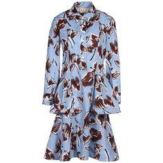 Marni Knee-length Dress (14 510 UAH) ❤ liked on Polyvore featuring dresses, blue, blue shirt dress, colorful dresses, shirt dress, cotton shirt dress and long-sleeve shirt dresses