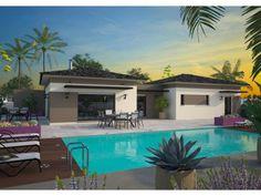Modèle La Villa : maison moderne à étage de 170m2 avec piscine. 3 chambres + 1 suite parentale #Maison #contemporaine #piscine #moderne #MaisonsFranceConfort