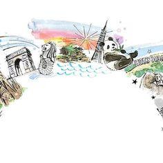 『GIFCO Inc.』website✨イラスト描かせていただきました。ヨーロッパ、アジア、アメリカの名所、わかるかな😊https://www.natsukiito.com/single-post/2017/04/13/『GIFCO-Inc』WEB    #watercolor #illustration #fashionillustration #fashion #illust #natsukiito #illustrator #art #drawing #painting #伊藤ナツキ #イラスト #イラストレーター