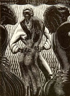 Danse du Pays in Martinique, 1930 by Lynd Kendall Ward (Jun 26, 1905 – Jun 28, 1985) American artist/storyteller, known for series of wordless novels using wood engraving, & his illustrations for juvenile & adult books. His wordless novels influenced development of graphic novel. Strongly associated w/his wood engravings, he also worked in watercolor, oil, brush & ink, lithography & mezzotint. Son of Methodist minister / political organizer Harry F. Ward.
