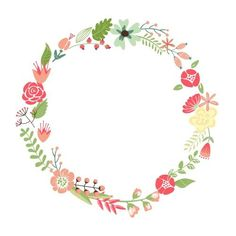 Floral Frame. Cute Retro Flowers Arranged Un A Shape Of The Wreath Perfect For Wedding Invitations And Birthday Cards Stock Image: